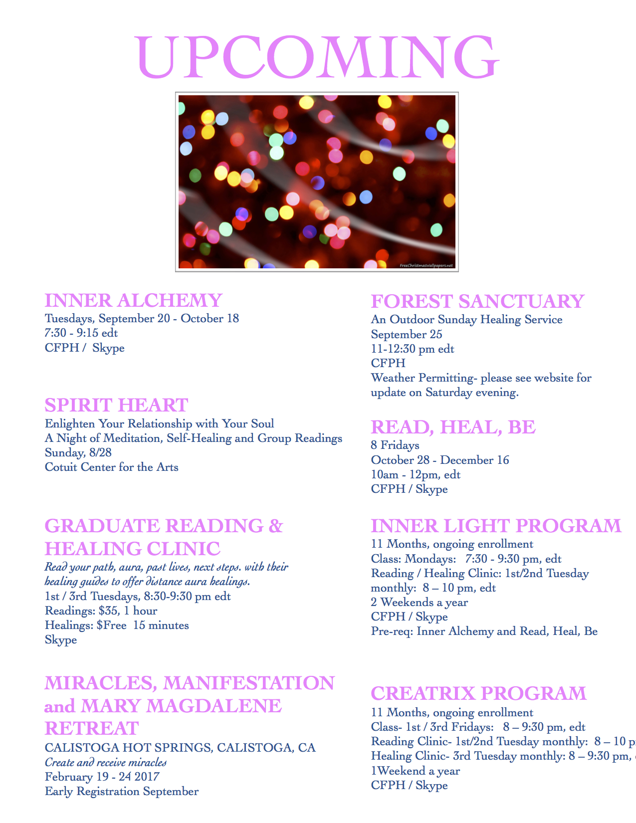 CFPH UPCOMING WEB August – CENTER FOR PSYCHIC HEALING